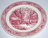 Royal China Memory Lane Snowy Morning 12 quot Round Platter Red Pink Transferware