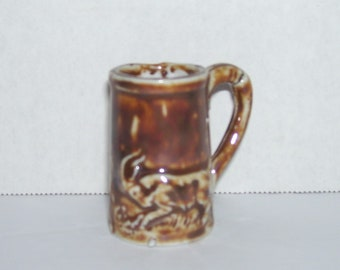 Antique Bennington Rockingham Pottery Miniature Goat Mug Stein 1-3/4""