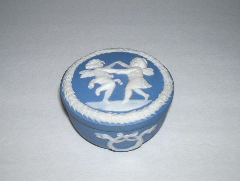 Vintage Blue White Cherub Angel Fairy Trinket Box Like Jasper Ware