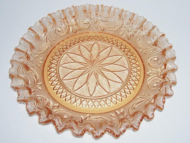 Westmoreland Glass Princess Feather Golden Sunset Bon Bon Dish