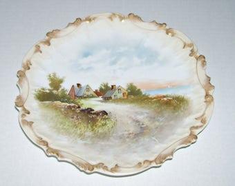 Antique Limoges Country Scene Cabinet Plate Tressemann Vogt