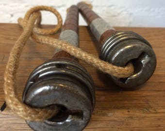 Early Antique 1920 / 30's Wooden Skipping Rope