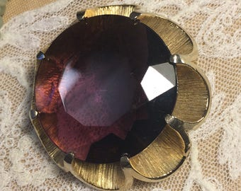 Large Faux Purple Amethyst Brooch