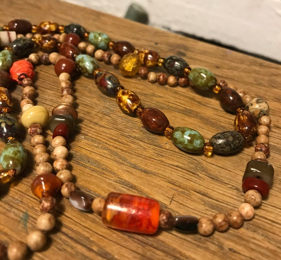 VINTAGE   necklace  30 inches vintage  but never worn large CLOISONNE BEAD .. brown fire polished glass beads