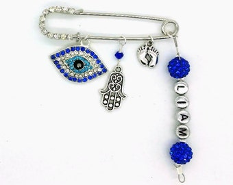 Stroller pin, Evil eye pin, personalized baby pin, evil eye baby, hamsa pin, evil eye safety pin, baby pin, baby shower gift, diaper pin