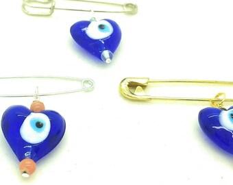 Evil eye heart pins