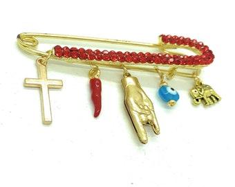 Italian red pepper pin, malocchio pin, mano cornuta safety pin, italian cornetto stroller pin, stroller pin, evil eye pin, good luck pin