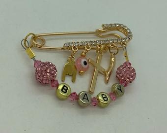 Italian horn pin, malocchio pin, italian safety pin, italian cornicelli cornetto stroller pin, stroller pin, evil eye pin, good luck pin