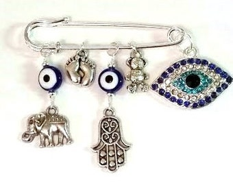 Stroller pin, Evil eye pin, baby pin, baby brooch, safety pin, diaper bag pin, baby shower gift, mom to be gift, protection pin