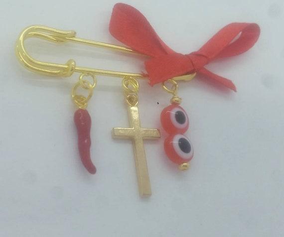Italian red pepper cross evil eye pin
