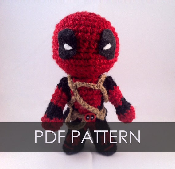 Pdf Crochet Pattern Deadpool Inspired Chibi Amigurumi Etsy