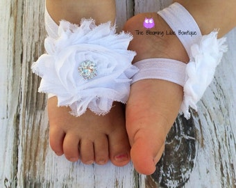 White Baby Barefoot Sandals with Rhinestone - Newborn Sandals - Baby Shoes - Photography Prop - Baptism Barefoot Sandals - Preemie Sandals