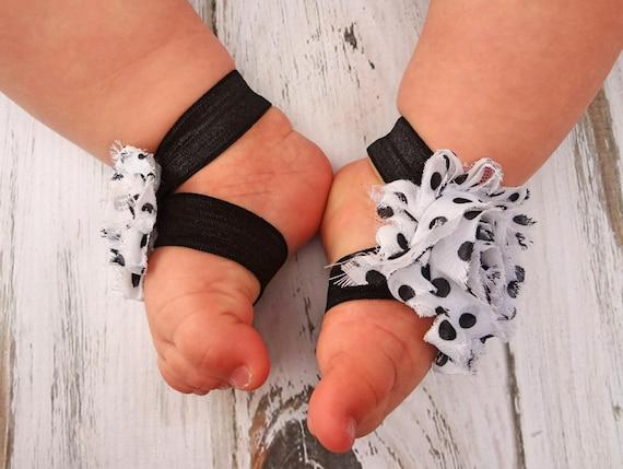 Nacido Blanco Recién Lunares Punteado Descalzo Con Negro Bebé Sandalias Prop Fotografía rdCxthoBsQ