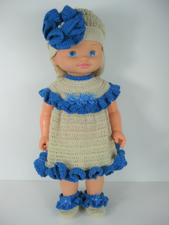 Hand crocheted Mattel Kelly Doll Clothes bright blue