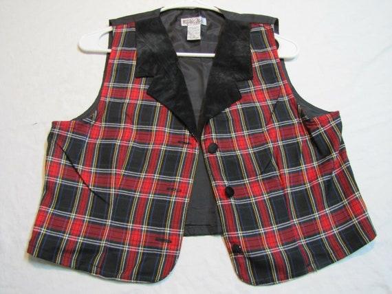 Sz S Black/Red Plaid Velvet Collar #66F WOMENS Sui