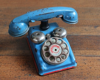 Vintage Blue and Red Toy Phone (Speedphone - The Gong Bell Mfg. Co.)