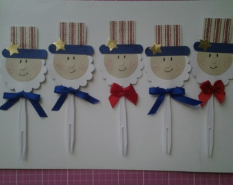 4th of July picks with Uncle Sam heads cupcake toppers party favors