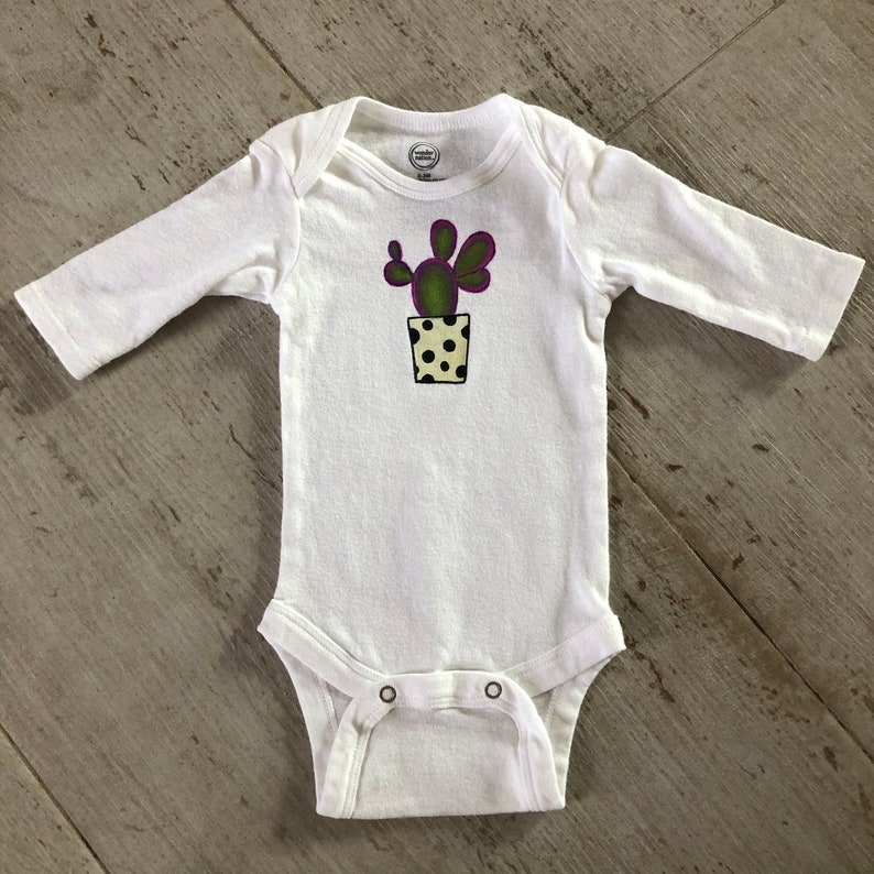 0-3 months old Size Baby Hand Painted Sparkly Purple Prickly Pear in a Pot Long Sleeve Onesie 100/% cotton white Onesie