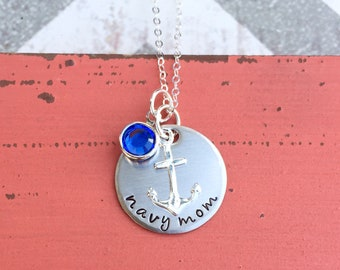 Navy Mom Necklace - Hand stamped Necklace - Navy Necklace - Navy Mom Gift - Sterling Silver Necklace - Mom Gift - Navy - Deployment - Cute