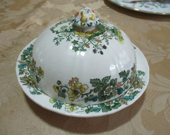 89d2d831c Vintage Mason's Ironstone Strathmere England Green and Yellow Floral  Covered Butter Dish Pristine Condition