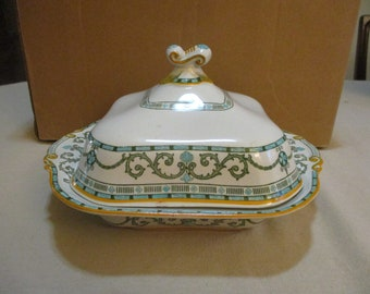Antique Ridgways CLASSIC Gray /& Mustard 10 Square Covered Vegetable Serving Dish
