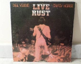 Vintage 1979 Vinyl LP Record Live Rust Neil Young & Crazy Horse Excellent Condition 14386