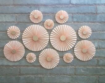 SET OF 12 - Peach Paper Rosettes / fans, Table Backdrop, Hanging Décor.