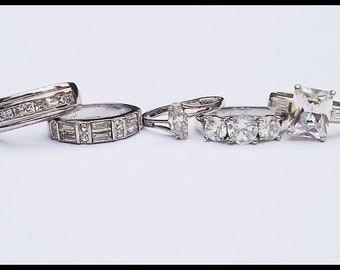 Lot of Five Vintage Sterling Silver CZ Crystal Rings