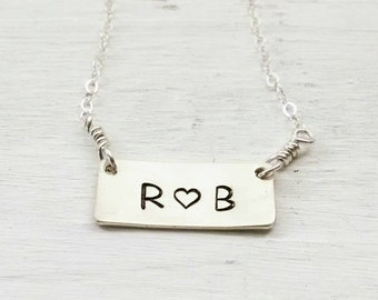 Love You Necklace - Sterling Silver, Hand Stamped - Heart Personalized Gift for Wife,  Girlfriend, Best Friend - Heart You Couple Gift