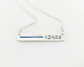 Thin Blue Line Necklace with Badge Number, 4 to 6 Numbers, Sterling Silver Inspiration Gift for Police Wife Mom Sister Daughter Officer