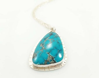c79f939a62725f Nevada Blue Turquoise Necklace - Sterling Silver and Unique Turquoise Stone  - One of a Kind Pendant - Gift for Her