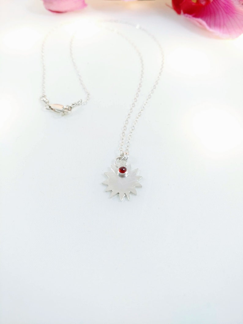 Sunshine Necklace  Rose Cut Garnet  Sterling Silver  You image 0
