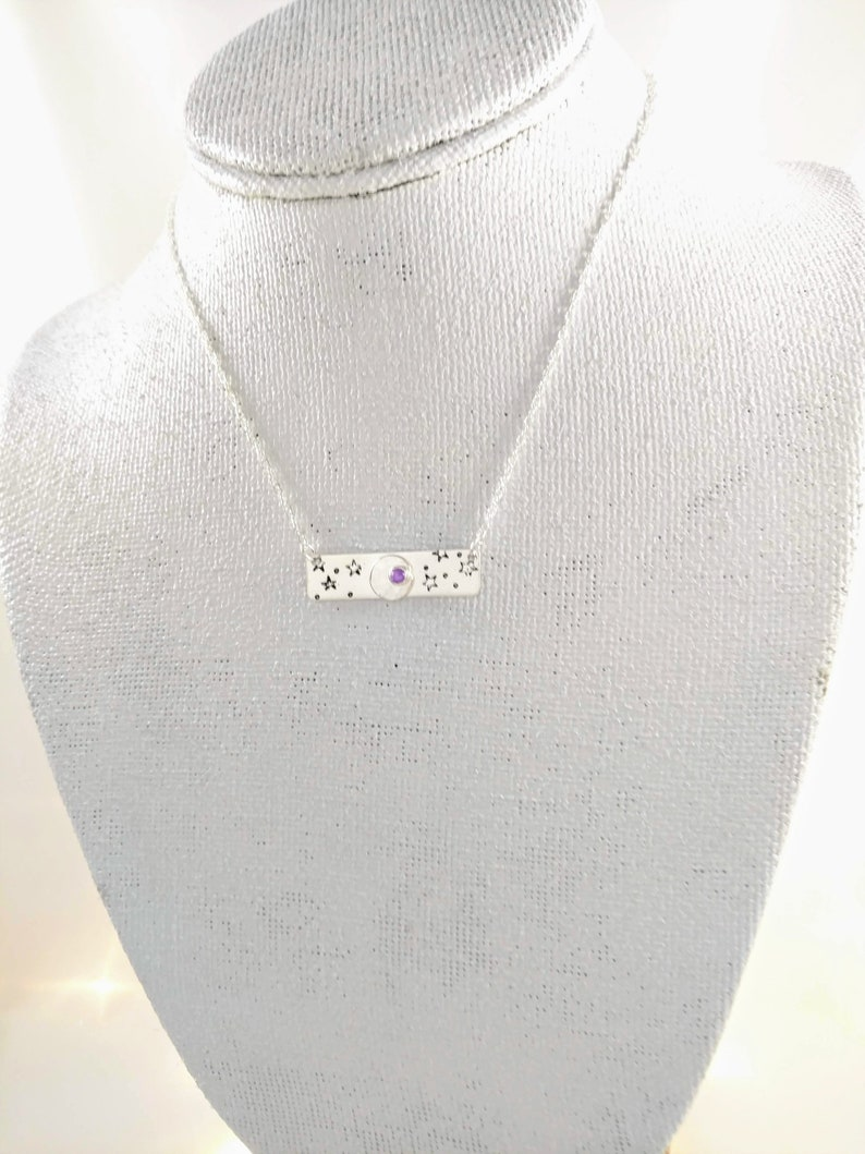 Starry Sky Bar Necklace  Hand Stamped  Sterling Silver and image 0