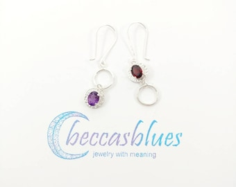 Garnet and Amethyst Circle Earrings, Sterling Silver, Handcrafted Modern Geometric Gemstone Earrings, Unique Christmas Gift for Her
