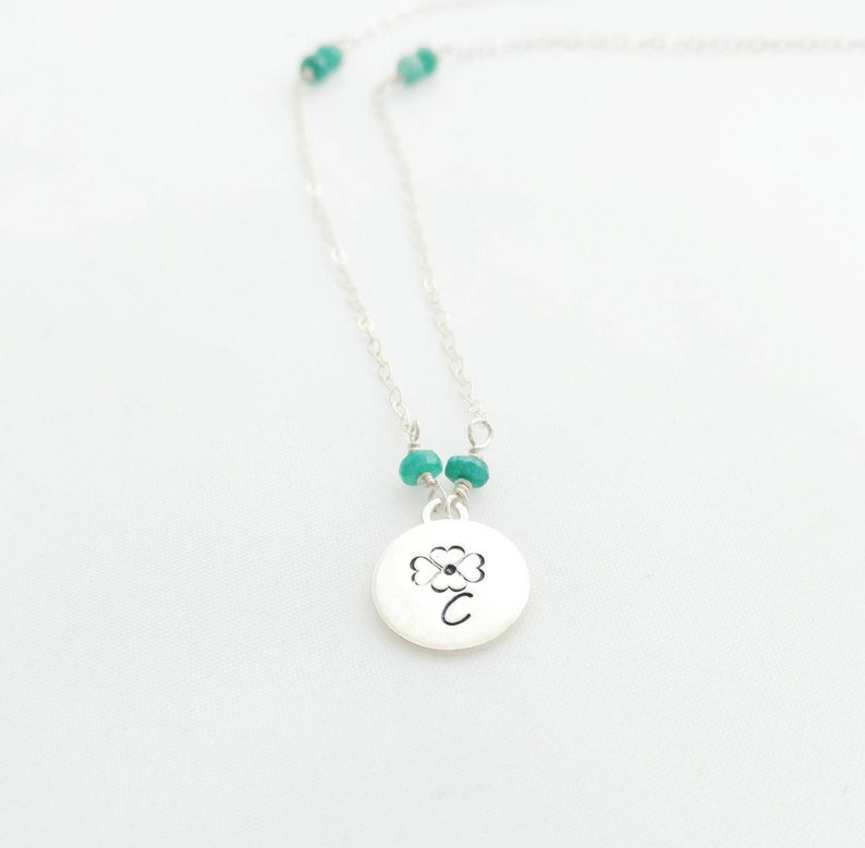 Initial and Birthstone Flower Necklace   Personalized Hand image 0
