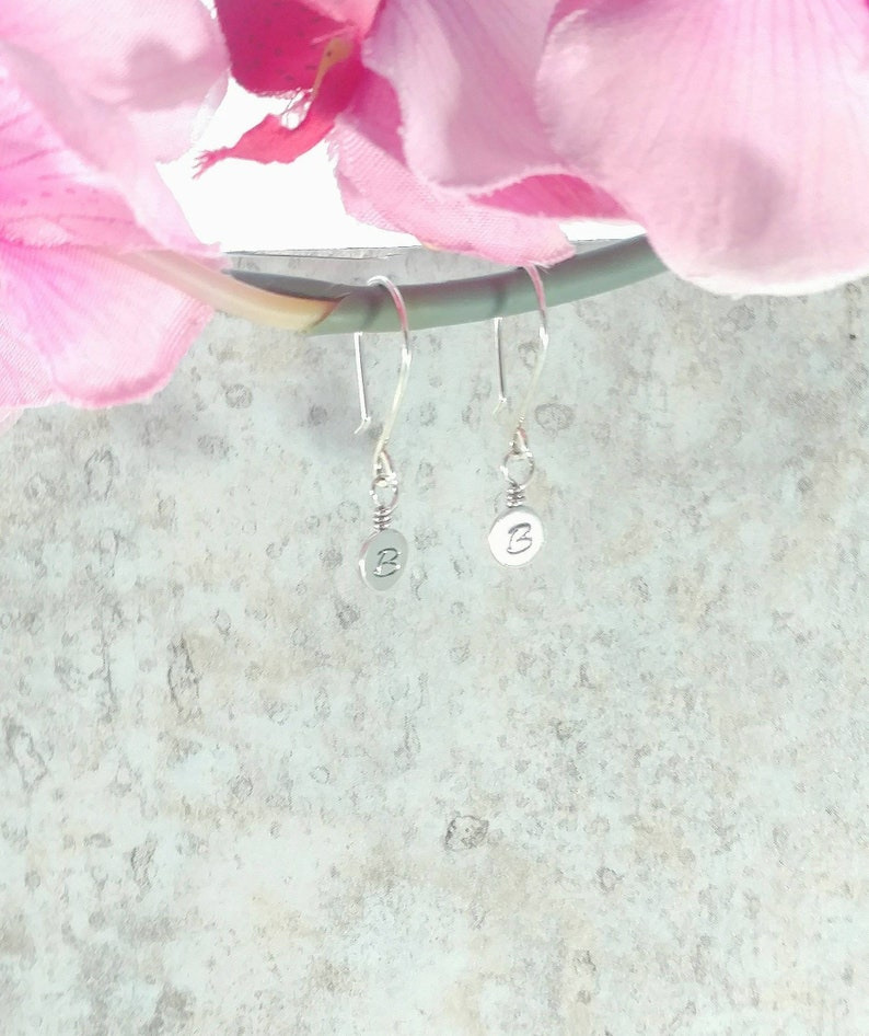 Sterling Silver Initial Earrings  Hand Stamped Monogram image 0
