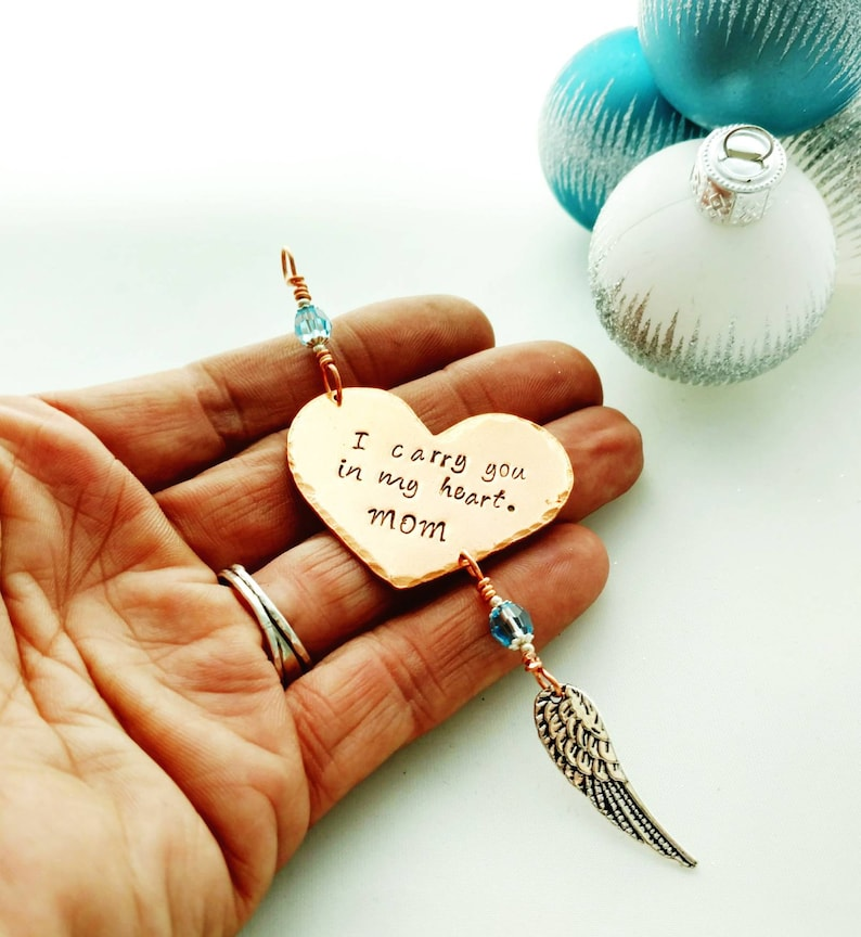 I Carry You In My Heart Remembrance Ornament With Angel Wing image 0