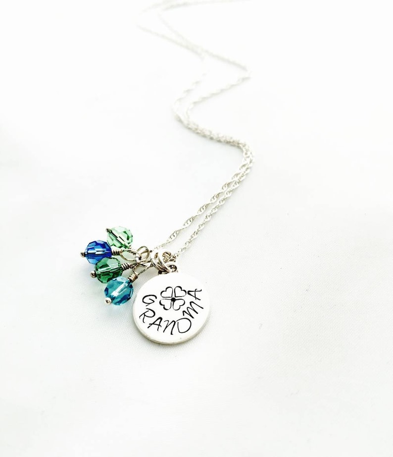 Birthstone Necklace With Name and Flower for Mom Grandma Aunt image 0