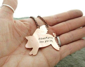 Flying Pig Copper Wine Bottle Tag, Hand Stamped Thank You Hostess Gift, Wedding Gift for Cincinnati Couple, Best Friend Gift