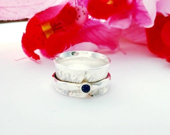 Lapis Lazuli Spinner Ring, Sterling Silver Wide Fidget Band with Hammered Texture, Birthday, Anxiety, Stress Relief Gift