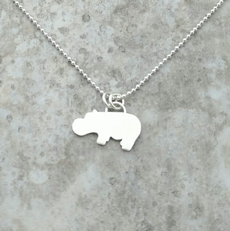 Hippo Necklace  Sterling Silver  Baby Hippo Gift  Hippo image 0