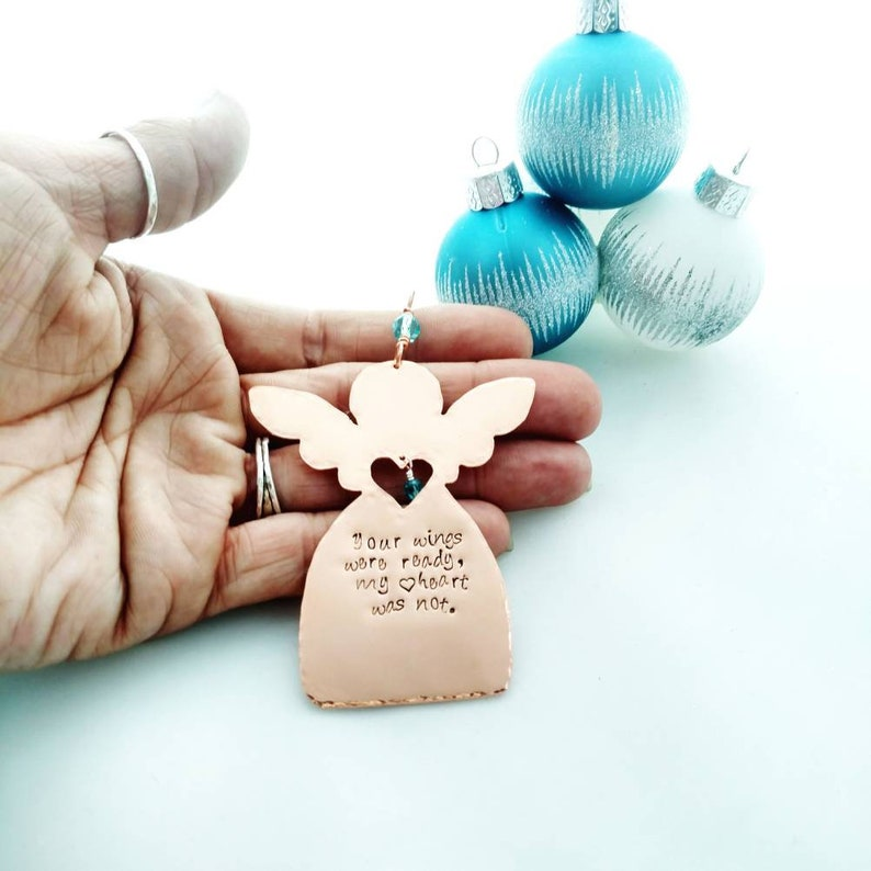 Copper Angel Remembrance Ornament  Your Wings Were Ready My image 0