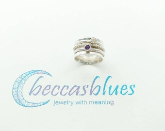 Birthstone Meditation Ring with 2 Gemstone Spinners and 1 Beaded Spinner, Represents Family, Secret Message, Christmas Gift for Mom Grandma