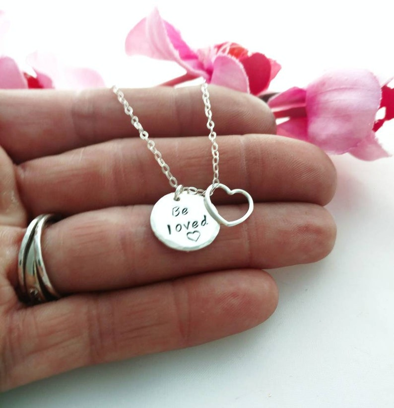 Be Loved Charm Necklace with Floating Heart  Silver image 0