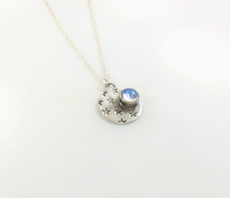 Starry Sky Necklace  Hand Stamped Stars  Moonstone  image 0