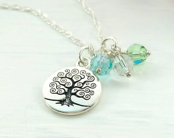Family Tree Birthstone Necklace  - Tree of Life Pendant - 1 to 8 Stones - Personalized Christmas Gift for Mom - Mother's Day