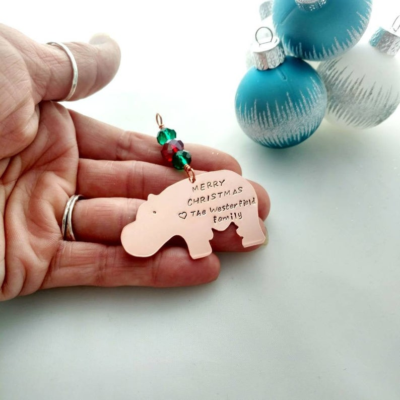Hippo Christmas Ornament  Personalized Whimsical Copper Gift image 0