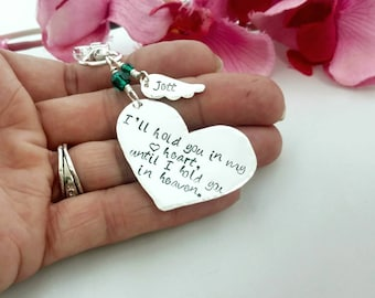 I'll Hold You In My Heart Until I Hold You In Heaven Remembrance Keychain with Custom Angel Wing, Memory Gift for Loss of Loved One