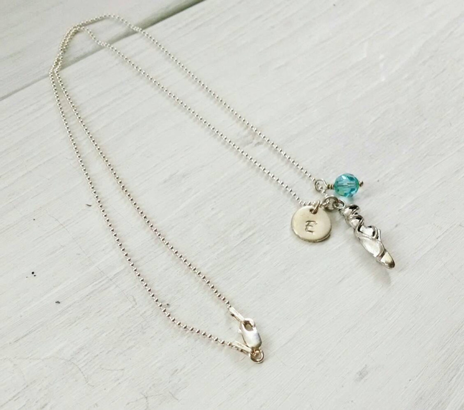 ballet slipper initial necklace - personalized gift for dance teacher - dance competition - ballerina birthday gift for dancing