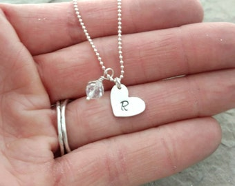 Heart and Birthstone Necklace With Initial, Sterling Silver and Swarovski Elements, Hand Stamped Layering Necklace, Christmas Gift for Her